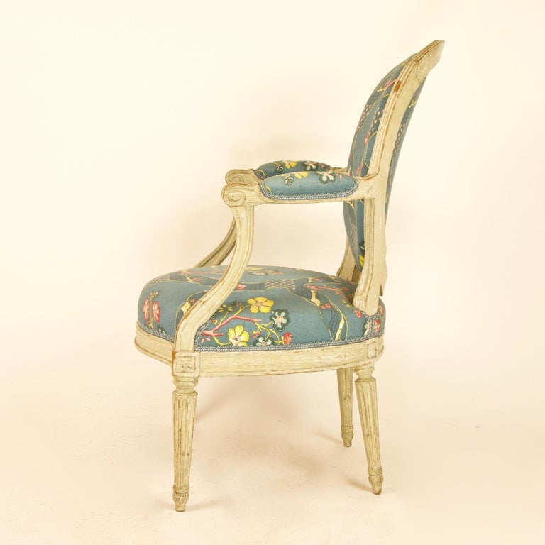 Pair of French 18th Century Louis XVI Painted Wood Armchairs by George Jacob For Sale 1