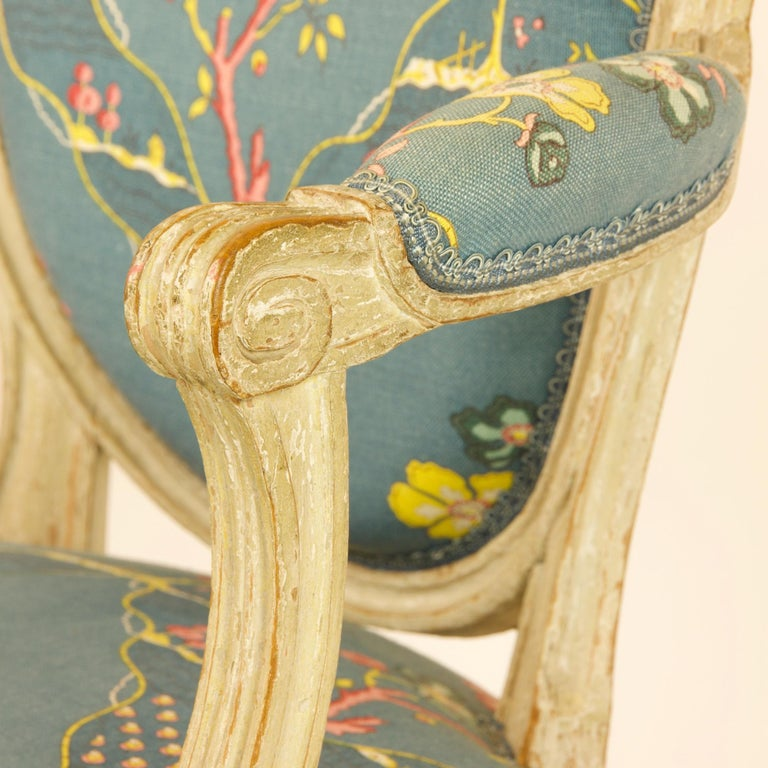 Pair of French 18th Century Louis XVI Painted Wood Armchairs by George Jacob For Sale 3