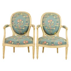 Pair of French 18th Century Louis XVI Painted Wood Armchairs by George Jacob