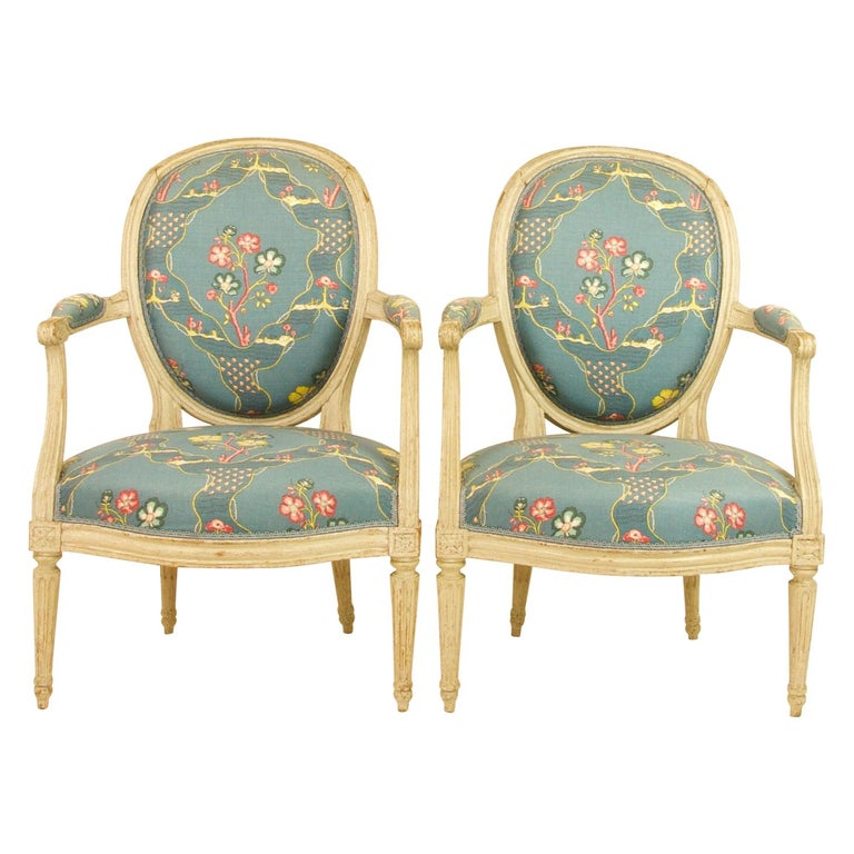 Pair of French 18th Century Louis XVI Painted Wood Armchairs by George Jacob For Sale