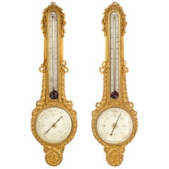 Pair of French 18th Century Louis XVI Period Giltwood Thermometers and Barometer