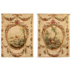 Pair of French 18th Century Louis XVI St. Aubusson Tapestries