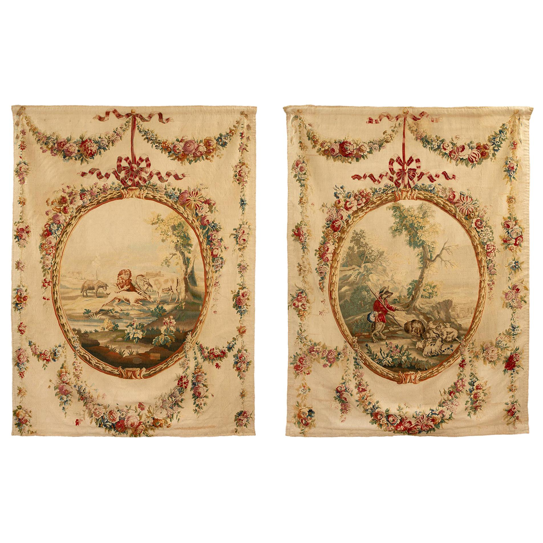 Pair of French 18th Century Louis XVI Style Aubusson Tapestries