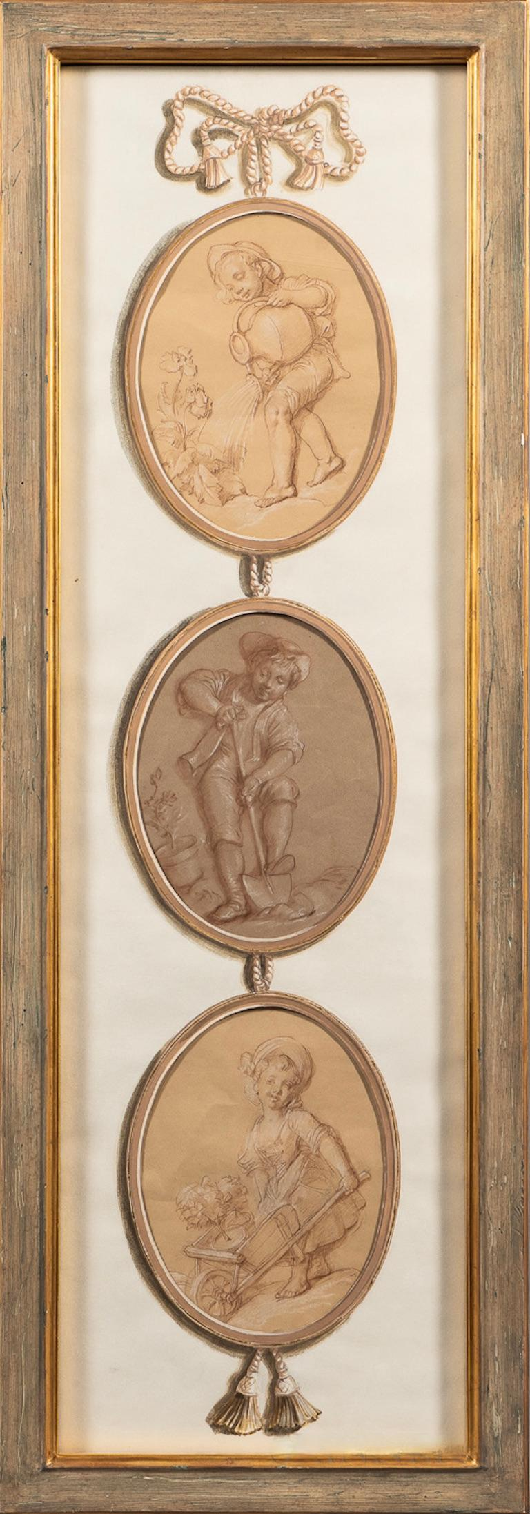 Pair of French School drawings in 18th century style. Hand drawn in Old Master Technique. Boucher School style  Pair of Trompe l'Oeil Three-drop Panels  Unsigned.  Red and white chalk on paper presented in gouache and watercolor embellished mats