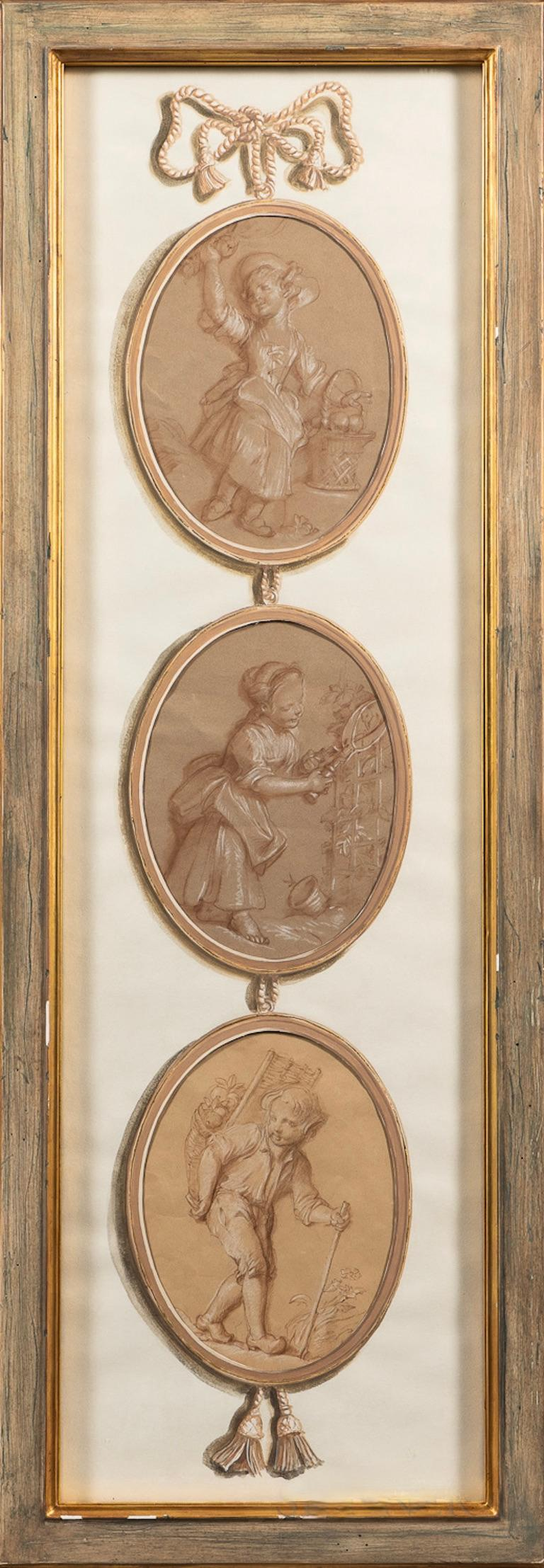 Louis XV Pair of French 18th Century Old Master Style Drawings in Trompe l'Oeil  For Sale