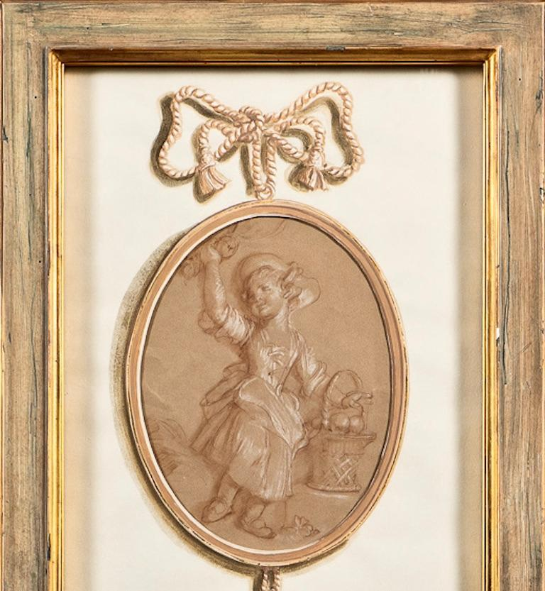 20th Century Pair of French 18th Century Old Master Style Drawings in Trompe l'Oeil  For Sale
