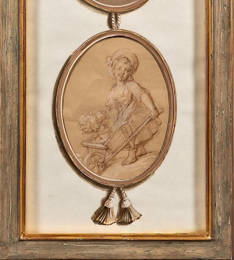 Paper Pair of French 18th Century Old Master Style Drawings in Trompe l'Oeil  For Sale