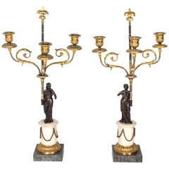 Pair of French 18th Century Ormulu Gilded Bronze Candelabra