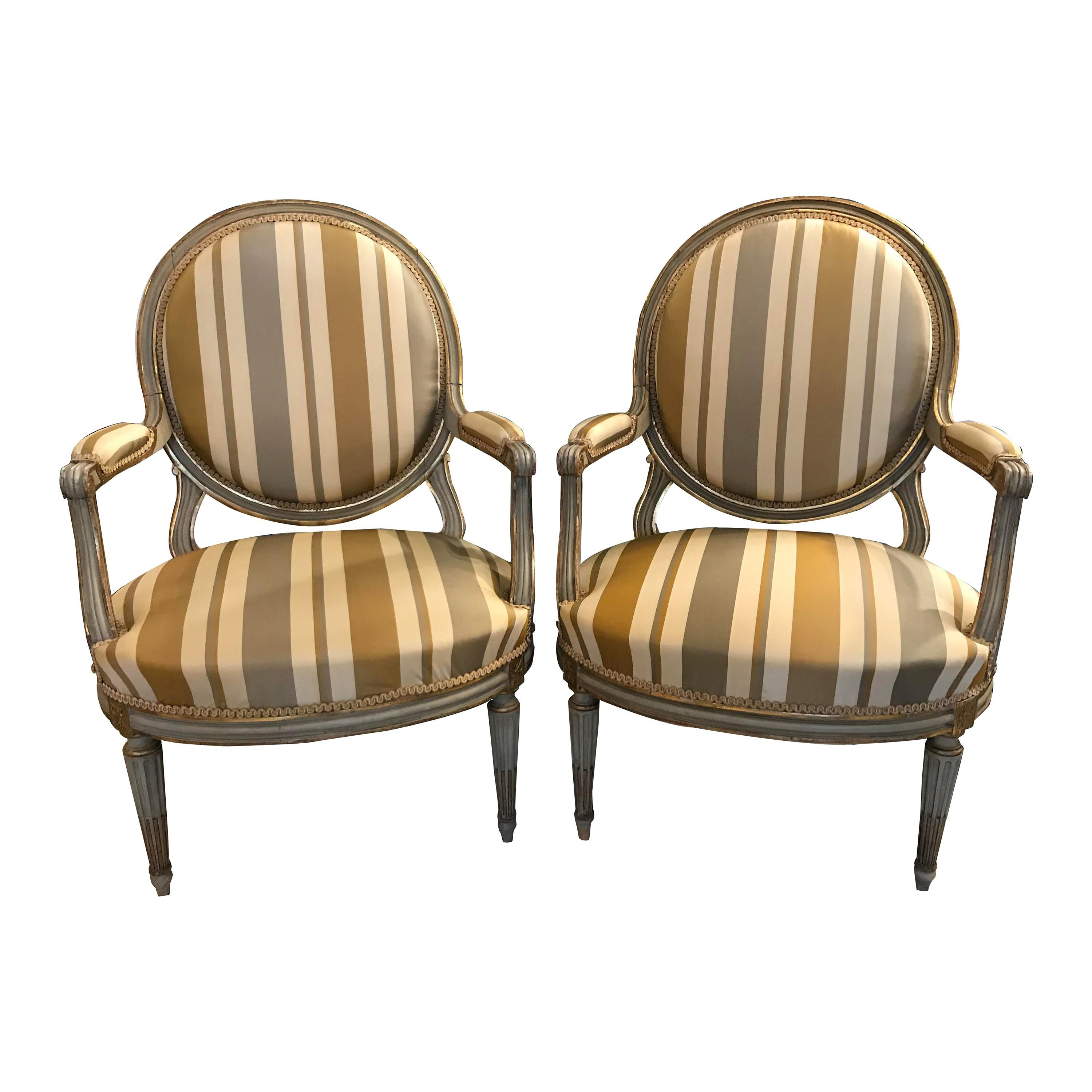 Pair Of French 18th Century Painted Armchairs