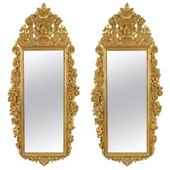 Pair of French 18th Century Régence Period Giltwood Mirror