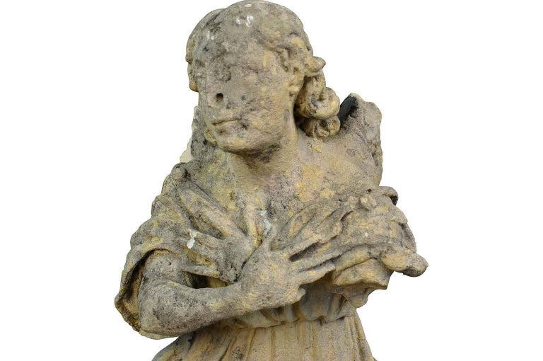 Pair of French 18th Century Stone Angels For Sale 7
