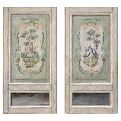 Pair of French 18th Century Trumeau Panels with Monkeys
