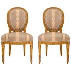 Pair of French 18th Louis XVI Period Giltwood Side Chairs