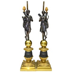 Pair of French 19 Century Neoclassical Figurative Bronze Lamps