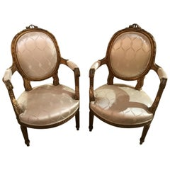 Pair of French 19th Century Giltwood Louis XVI-Style Armchairs White Silk Fabric