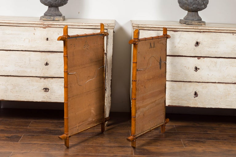 Pair of French 1900s Faux Bamboo Rectangular Mirrors with Protruding Corners For Sale 7