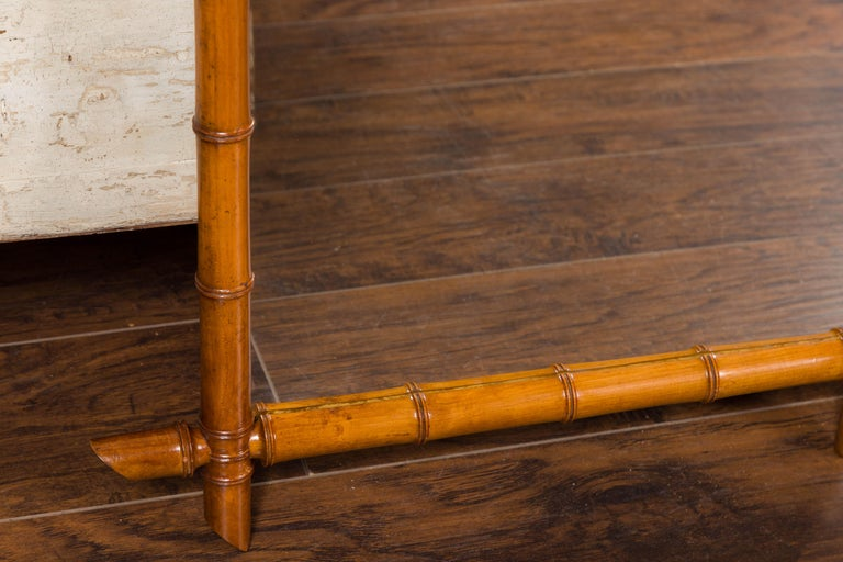 Pair of French 1900s Faux Bamboo Rectangular Mirrors with Protruding Corners In Good Condition For Sale In Atlanta, GA