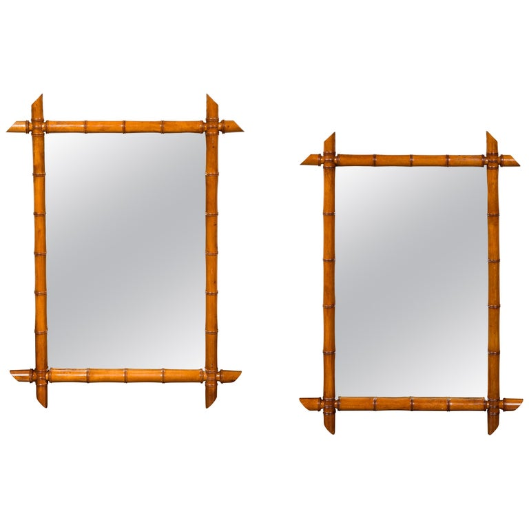 Pair of French 1900s Faux Bamboo Rectangular Mirrors with Protruding Corners For Sale
