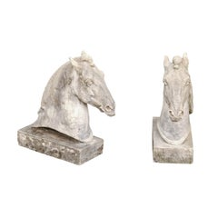 Pair of French 1900s Turn of the Century Carved Stone Horse Head Sculptures