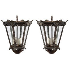 Pair of French 1900s Turn of the Century Four Light Bronze Lanterns with Shells