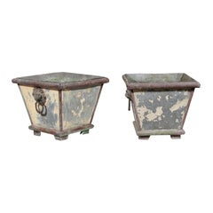 Pair of French 1900s Zinc Planters with Weathered Patina and Lion Head Motifs