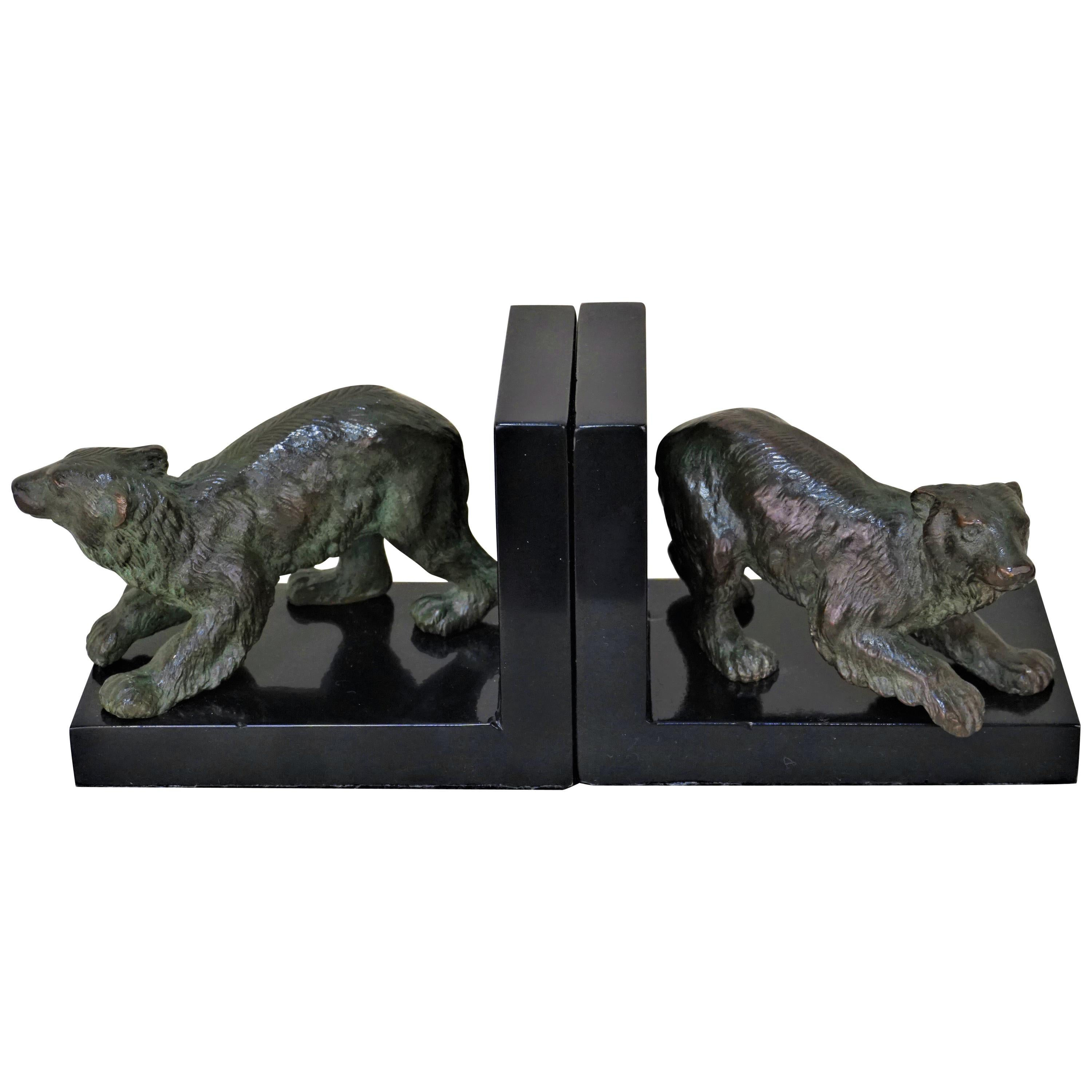 Pair of French, 1920s Bronze Bear Bookend