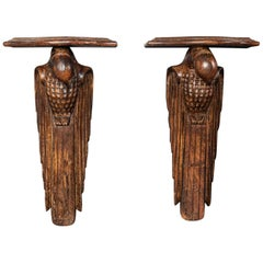 Pair of French 1920s Hand Carved Parrot Wall Shelves, Early 20th Century, 1920
