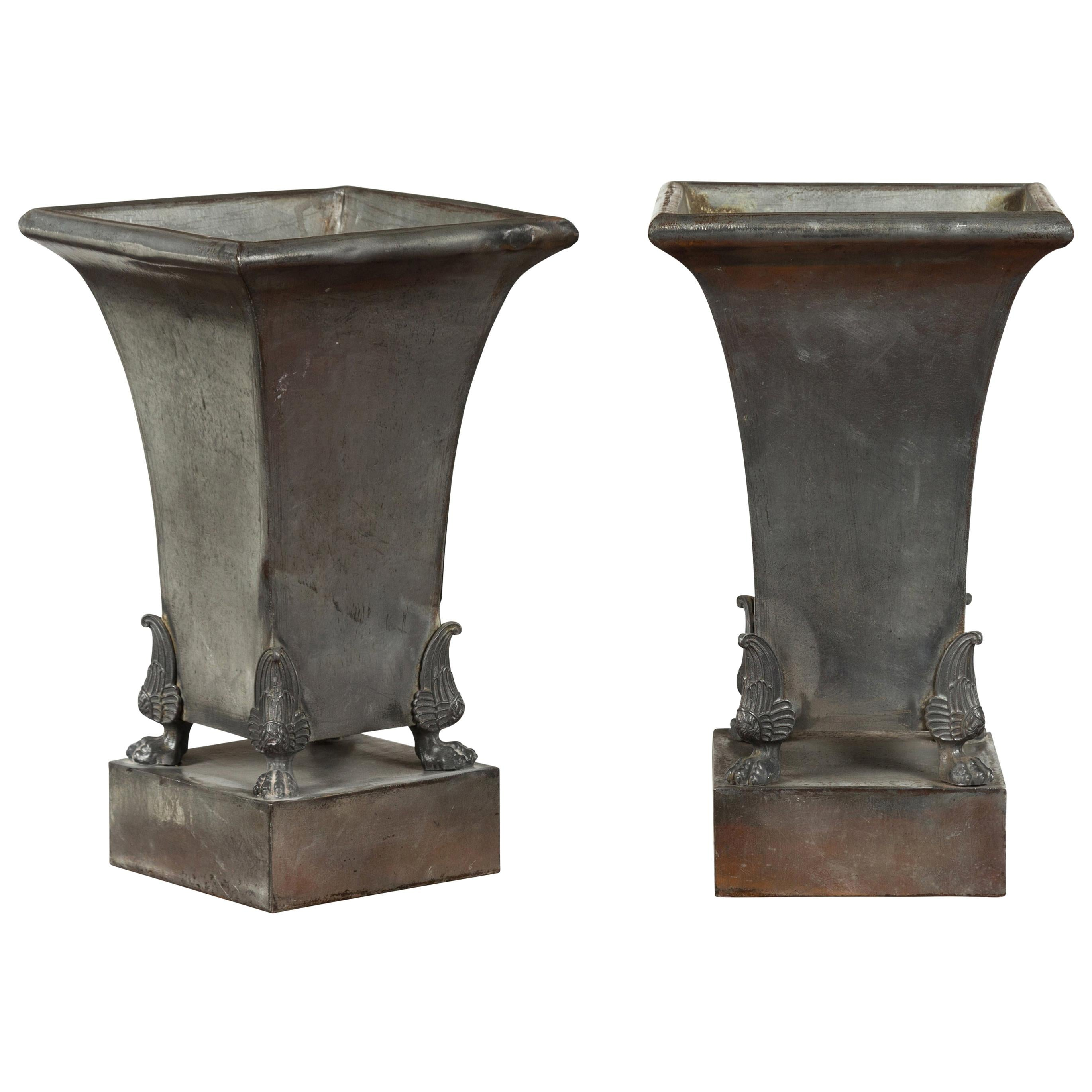 Pair of French 1920s Metal Copper Lined Planters with Empire Style Winged Paws