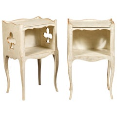 Pair of French 1920s Painted Bedside Tables with Gilt Highlights and Club Motifs