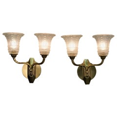Pair of French 1930s Art Deco Wall Sconces