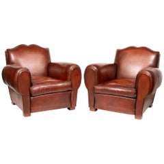 "Pair of French 1930s Chocolate Brown Leather ""Moustache"" Armchairs"