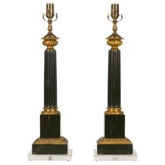 Pair of French 1930s Neoclassical Style Tôle and Bronze Lamps on Lucite Bases