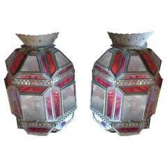 Pair of French 1930s Tin and Clear and Stained Glass Sconces with 1 Single Light