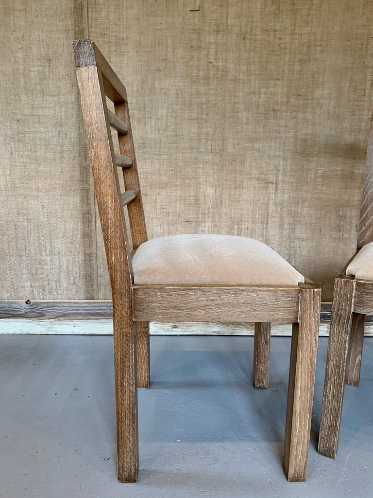 Mid-20th Century Pair of French 1940s Cerused Oak Side Chairs For Sale