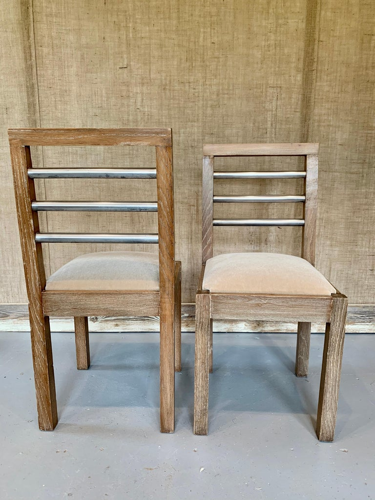 Pair of French 1940s Cerused Oak Side Chairs For Sale 1