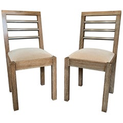 Pair of French 1940s Cerused Oak Side Chairs
