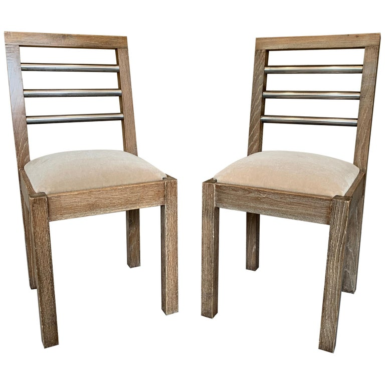 Pair of French 1940s Cerused Oak Side Chairs For Sale