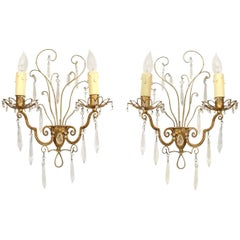 Pair of French 1940s Gilt Metal Wall Sconces, Attrib. to Baguès