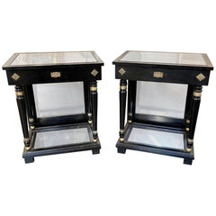 Pair of French 1940s Jansen Style Black Lacquered Side Tables
