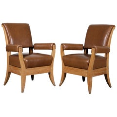 Pair of French 1940s Leather Upholstered Oak Armchairs