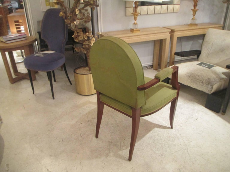 Pair of French 1940s Mahogany Armchairs For Sale 1