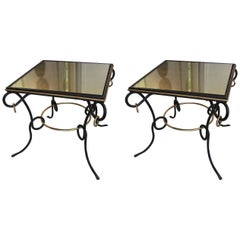 Pair of French 1940s Painted and Gilt Iron Tables with Ring Decoration