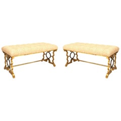 Pair of French 1940s Style Iron Gold Painted Benches