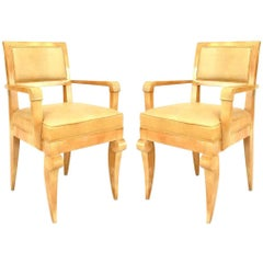 Pair of French 1940s Sycamore Armchairs, Attributed to André Arbus