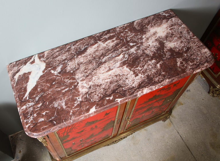 Pair of French 1940s Red Chinoiserie Cabinets with gilt bronze mounts For Sale 4