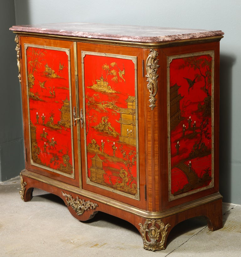 Pair of French 1940s Red Chinoiserie Cabinets with gilt bronze mounts For Sale 6
