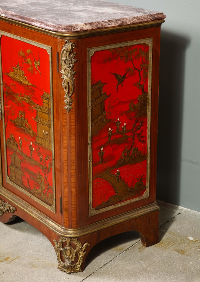 Pair of French 1940s Red Chinoiserie Cabinets with gilt bronze mounts For Sale 7