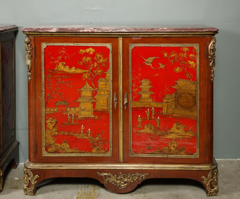 Pair of French 1940s Red Chinoiserie Cabinets with gilt bronze mounts For Sale 8