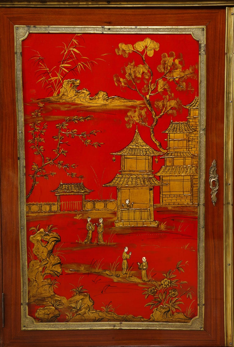 Pair of French 1940s Red Chinoiserie Cabinets with gilt bronze mounts For Sale 9