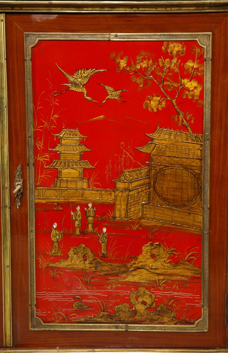 Pair of French 1940s Red Chinoiserie Cabinets with gilt bronze mounts For Sale 10